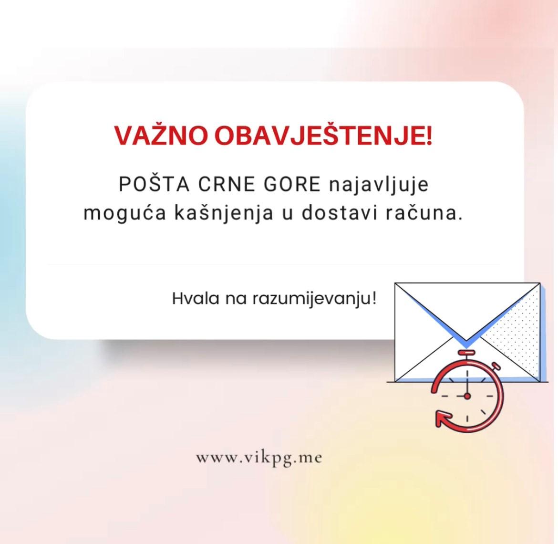 Pošta Crne Gore: Moguća kašnjenja u dostavi računa